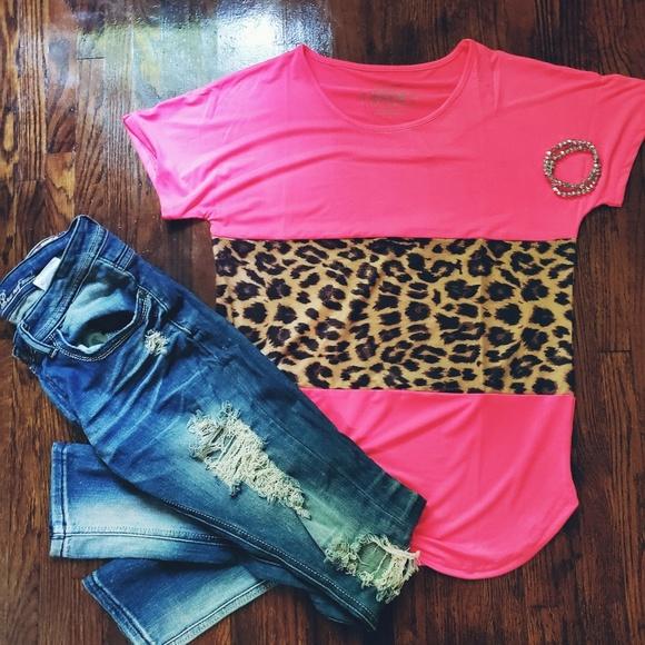 Pink Leopard Print Color block Tee Boutique
